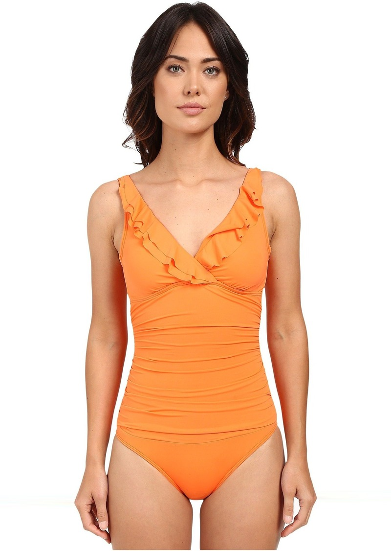 16eb2435a4 LAUREN Beach Club Solids Ruffle Surplice Underwire Tank Top Slimming Fit &  Removable Cup. Ralph Lauren