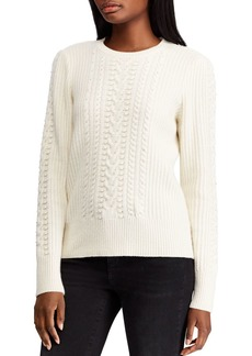 Lauren Ralph Lauren Beaded Cable-Knit Sweater