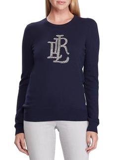 Lauren Ralph Lauren Beaded-Logo Cotton-Blend Sweater