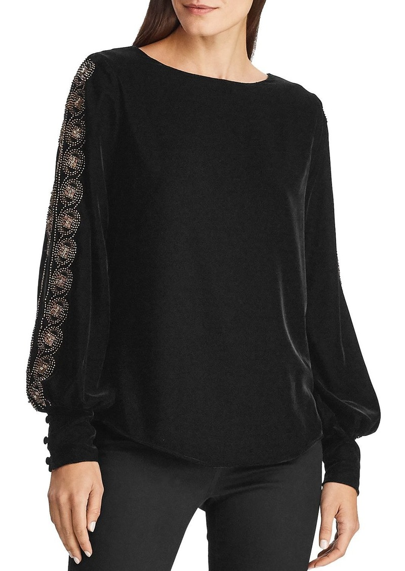 Lauren Ralph Lauren Beaded Long-Sleeve Velvet Top