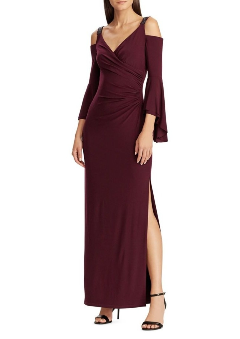 Lauren Ralph Lauren Beaded-Strap Faux Wrap Column Gown