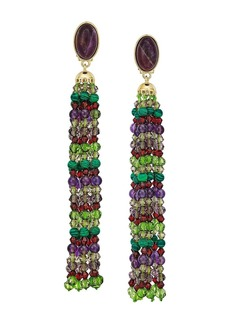 Ralph Lauren Beaded Tassel Clip Earrings
