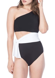 Lauren Ralph Lauren Bel Aire Cut-Out On-Shoulder One-Piece Swimsuit