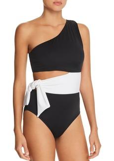 Lauren Ralph Lauren Bel Aire Cutout One-Shoulder One Piece Swimsuit