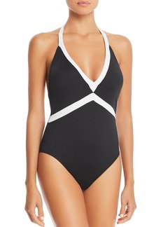 Lauren Ralph Lauren Bela V-Neck One Piece Swimsuit