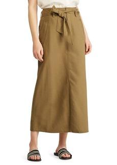 Lauren Ralph Lauren Belted Cotton-Blend Skirt