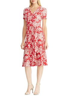 Lauren Ralph Lauren Belted Floral-Print Jersey Dress
