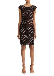 Lauren Ralph Lauren Belted Geometric Print Jersey Dress