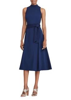 Lauren Ralph Lauren Belted Mock-Neck Dress