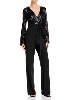 Lauren Ralph Lauren Belted Sequin Combo Jumpsuit