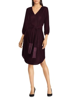 Lauren Ralph Lauren Belted Velvet Dress
