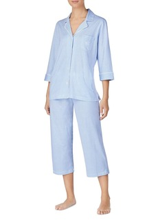 Lauren Ralph Lauren Bingham Knits Cotton Jersey Cropped PJ Set