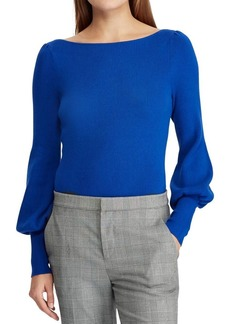 Lauren Ralph Lauren Boatneck Puffed-Sleeve Sweater