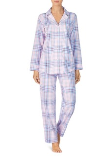 Lauren Ralph Lauren Brushed Cotton Twill Long Pajama Set