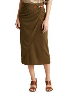 Lauren Ralph Lauren Buckled Faux-Wrap Midi Skirt