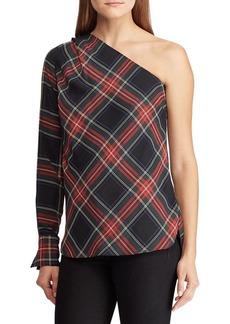 Lauren Ralph Lauren Buffalo Check One-Shoulder Top