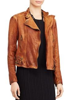 Lauren Ralph Lauren Burnished Leather Moto Jacket