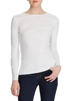 Lauren Ralph Lauren Button-Shoulder Crewneck Top
