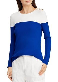 Lauren Ralph Lauren Button Shoulder Ribbed Color Block Top