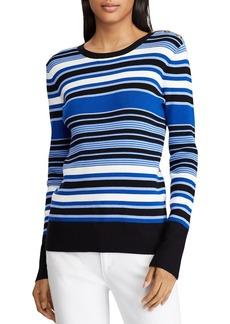 Lauren Ralph Lauren Button Shoulder Ribbed Stripe Top