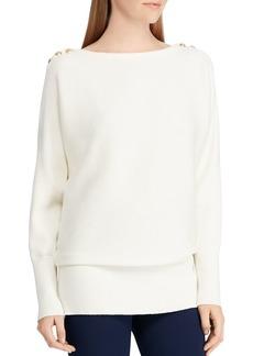 Lauren Ralph Lauren Button Shoulder Ribbed Sweater