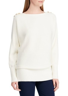 Lauren Ralph Lauren Button-Shoulder Ribbed Sweater