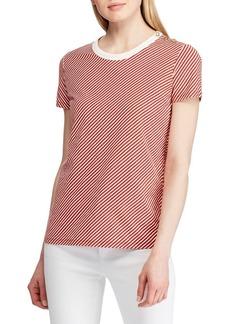 Lauren Ralph Lauren Button Shoulder Striped Tee