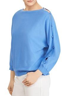 Lauren Ralph Lauren Button-Sleeve Boatneck Top