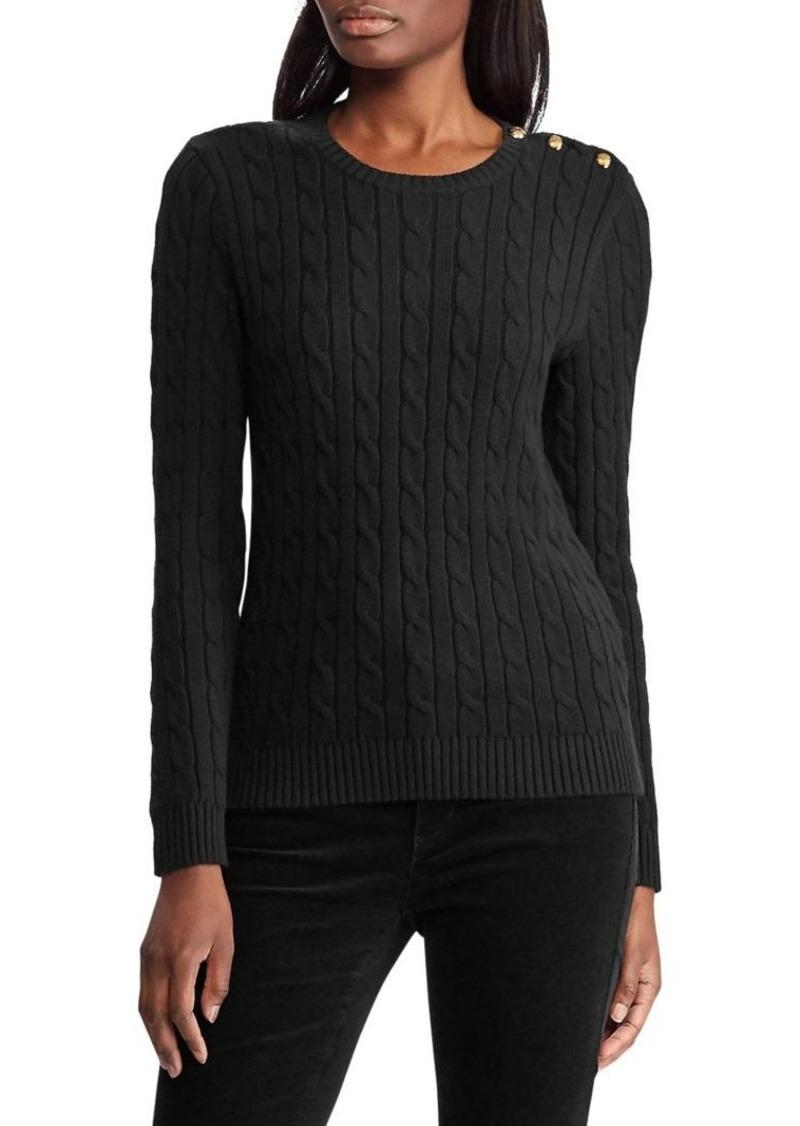Lauren Ralph Lauren Button-Trim Cable Sweater