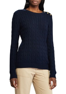 Lauren Ralph Lauren Button-Trim Cable Sweater