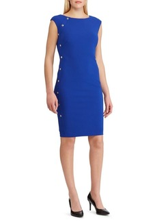 Lauren Ralph Lauren Button-Trim Crepe Dress