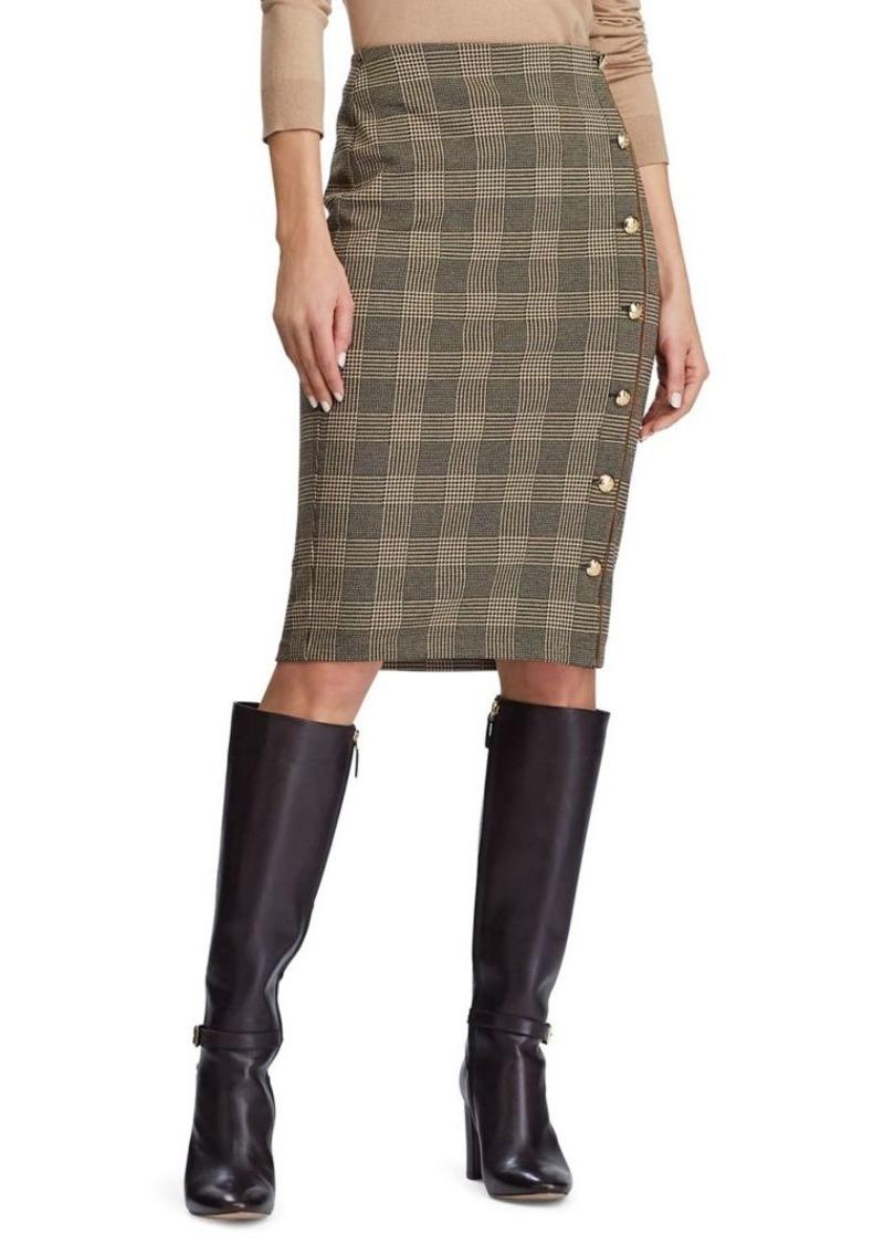 Lauren Ralph Lauren Button-Trim Glen Plaid Skirt