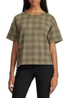 Lauren Ralph Lauren Button-Trim Glen Plaid Top