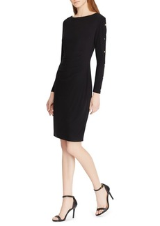Lauren Ralph Lauren Button-Trim Long-Sleeve Dress
