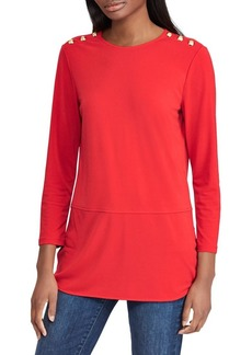 Lauren Ralph Lauren Button-Trim Matte Jersey Top