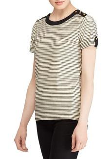 Lauren Ralph Lauren Button-Trim Stripe Top