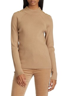 Lauren Ralph Lauren Button-Trimmed Mockneck Cotton-Blend Sweater
