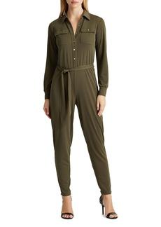 Lauren Ralph Lauren Button-Up Tie-Waist Jumpsuit