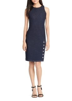 Lauren Ralph Lauren Button Vent Denim Sheath Dress