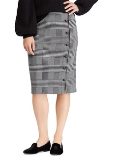 Lauren Ralph Lauren Buttoned Glen Plaid Pencil Skirt