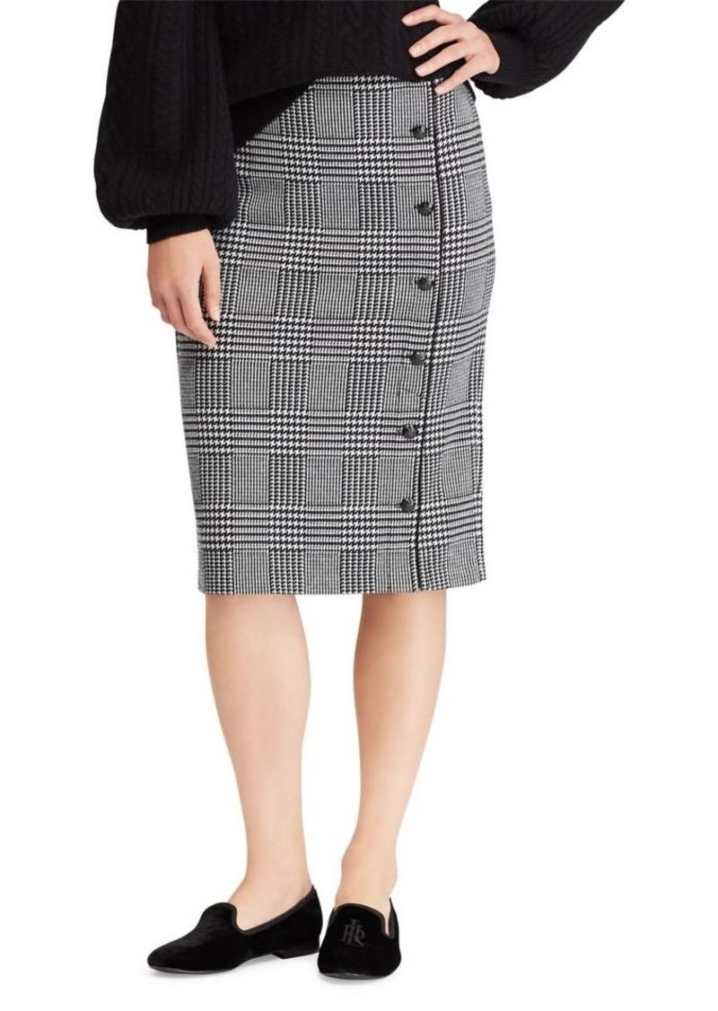 52f0c1fc20f388 Ralph Lauren Lauren Ralph Lauren Buttoned Glen Plaid Pencil Skirt ...