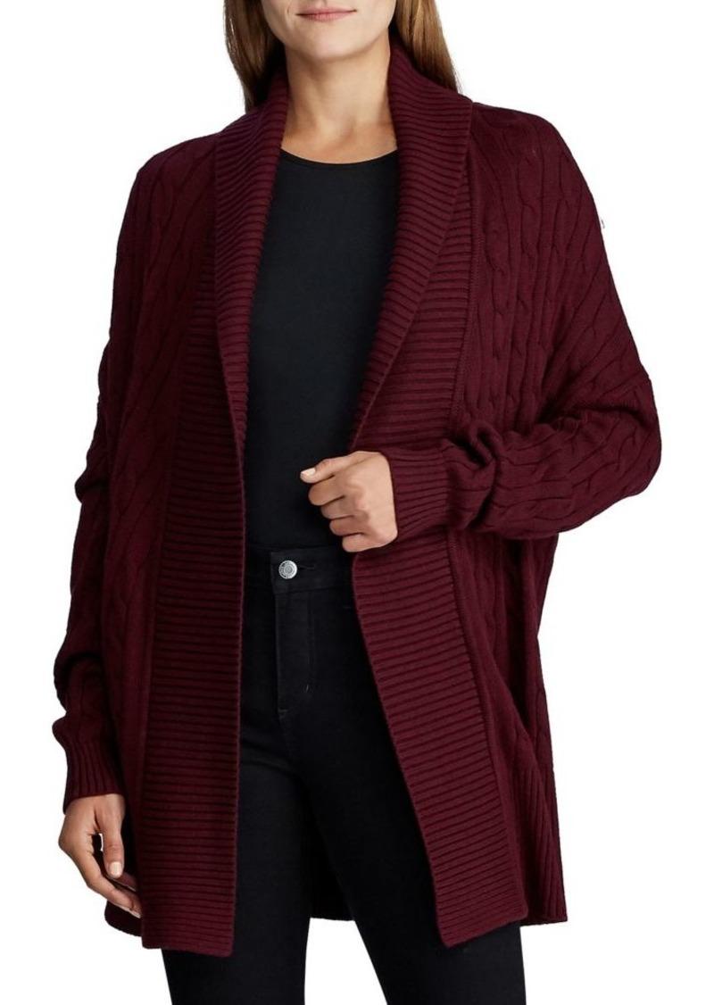 Lauren Ralph Lauren Cable Knit Cotton Shawl Cardigan