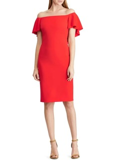 Lauren Ralph Lauren Cape Crepe Off-The-Shoulder Sheath Dress