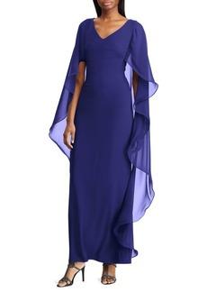 Lauren Ralph Lauren Cape-Overlay Chiffon Dress
