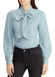Lauren Ralph Lauren Chambray Bow-Neck Blouse