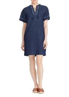Lauren Ralph Lauren Chambray Lace-Up Shift Dress