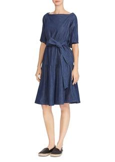 Lauren Ralph Lauren Chambray Off-the-Shoulder Dress