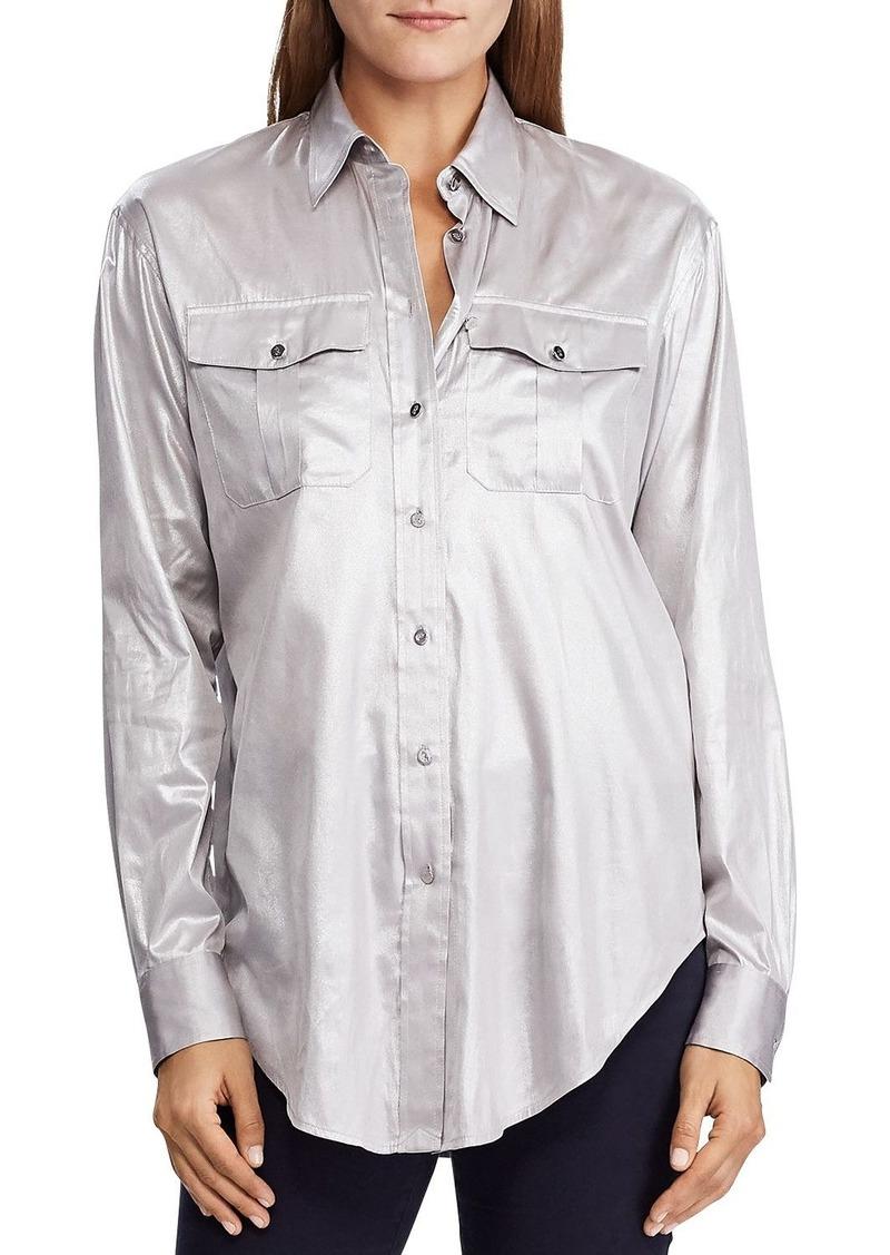 Lauren Ralph Lauren Charmeuse Button-Down Shirt