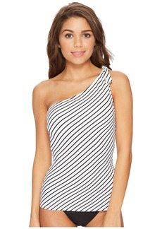 Ralph Lauren City Stripe Asymmetrical Tie One Shoulder Tankini Top