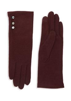 Lauren Ralph Lauren Wool-Cashmere Blend Button Gloves
